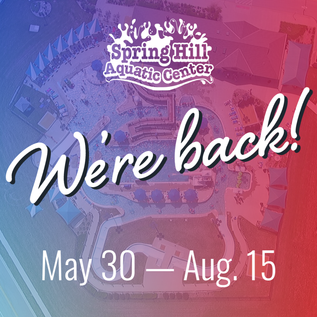 "Image of SHAC with gradient overlay. Text says ""We're back! Season: May 30-Aug. 15"